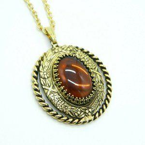 Pcraft Brown Glass Rhinestone Gold Tone Pendant